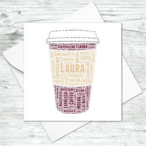 Personalised Coffee Cup Word Art Card