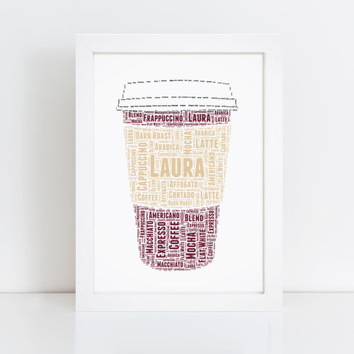 Personalised Coffee Cup Word Art Print