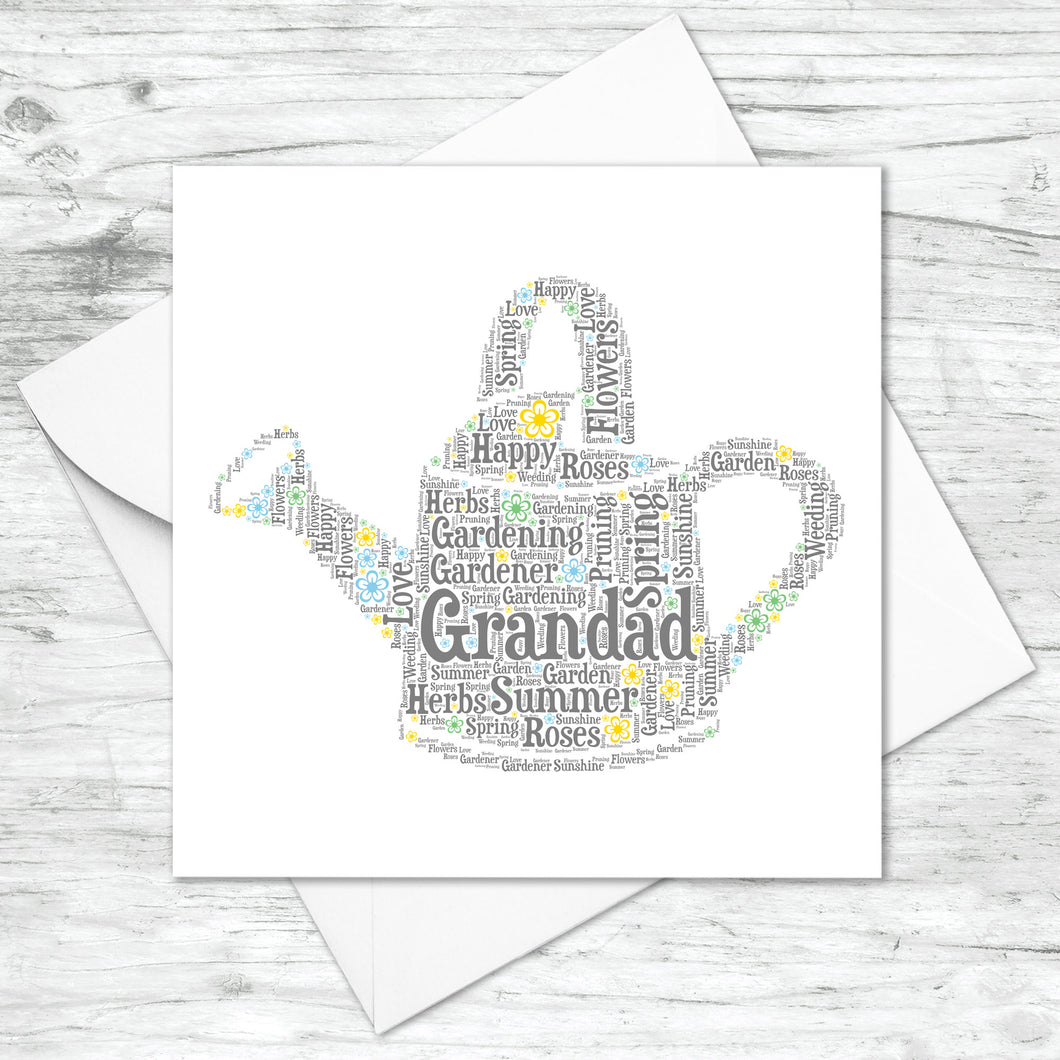 Personalised Watering Can Trowel Word Art Card