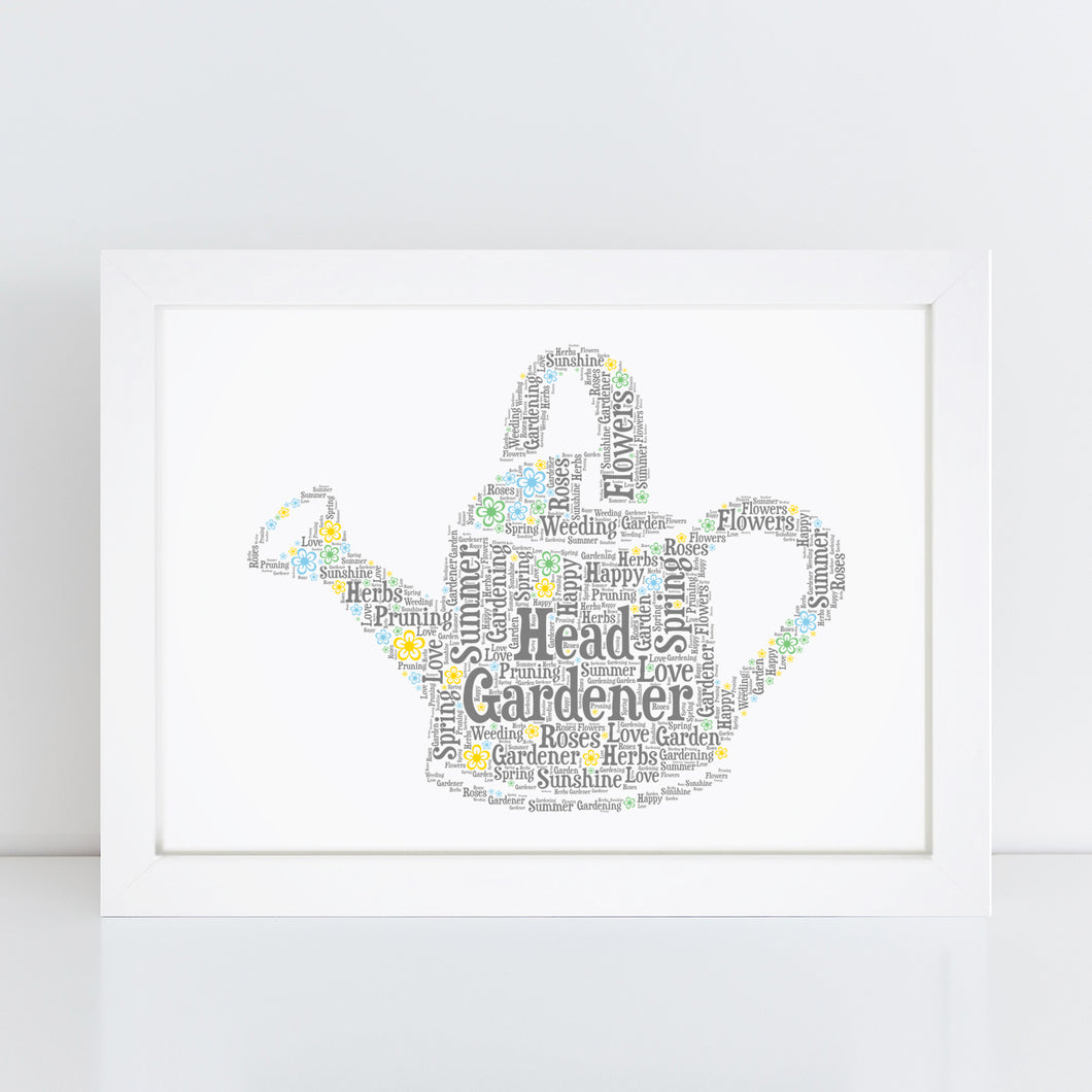 Personalised Watering Can Trowel Word Art Print