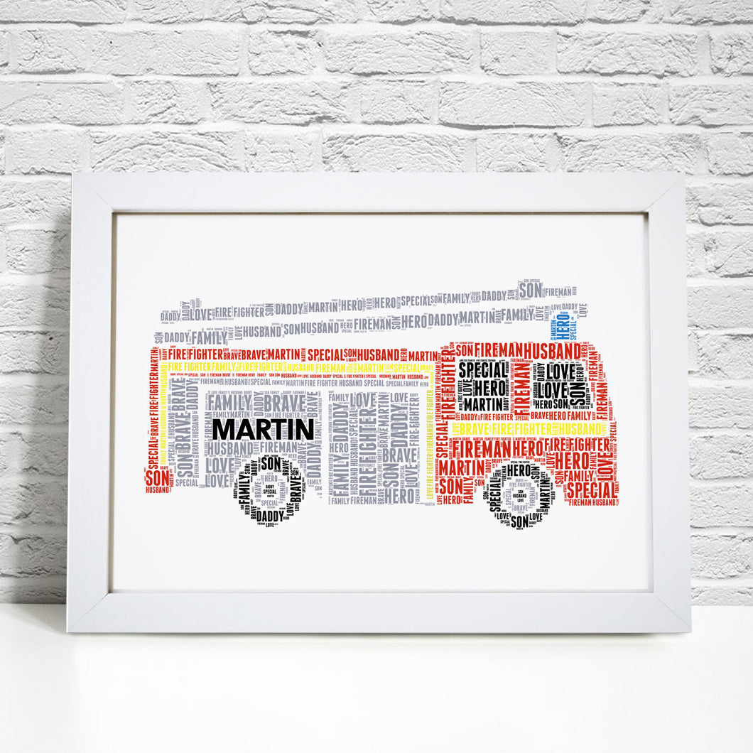 Personalised Fire Engine Print