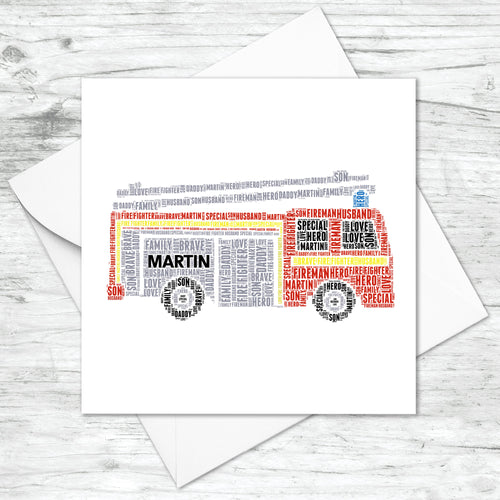 Personalised Fire Engine Card