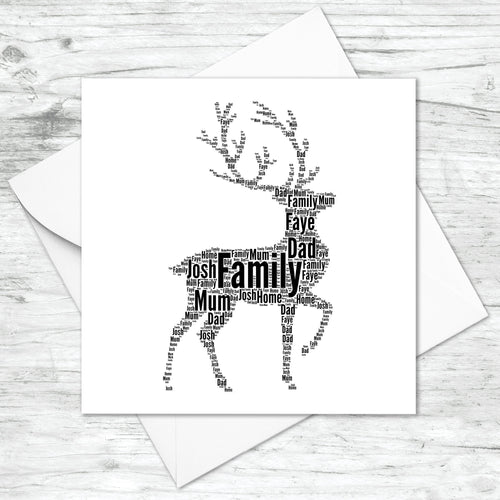 Personalised Stag Word Art Card