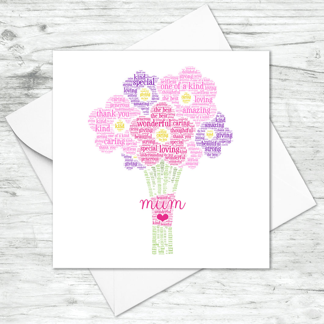 Personalised Flower Bouquet Word Art Card