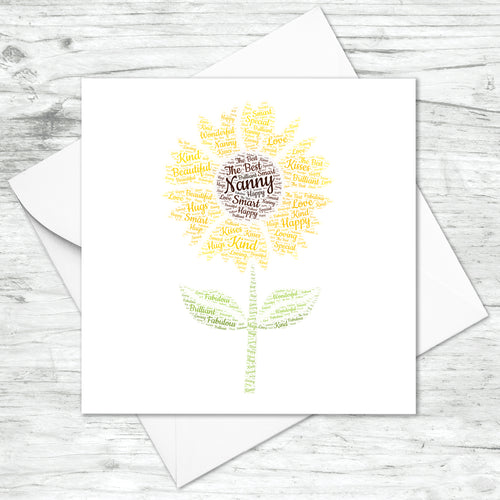 Personalised Sunflower Word Art Card