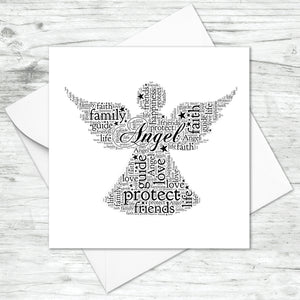Personalised Angel Word Art Card
