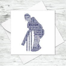 Personalised Cricket Player Word Art Card