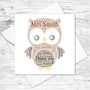 Personalised Owl Word Art Card