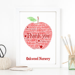 Personalised Apple Word Art Print