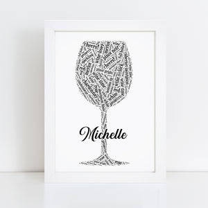 Personalised Wine Glass Word Art Print