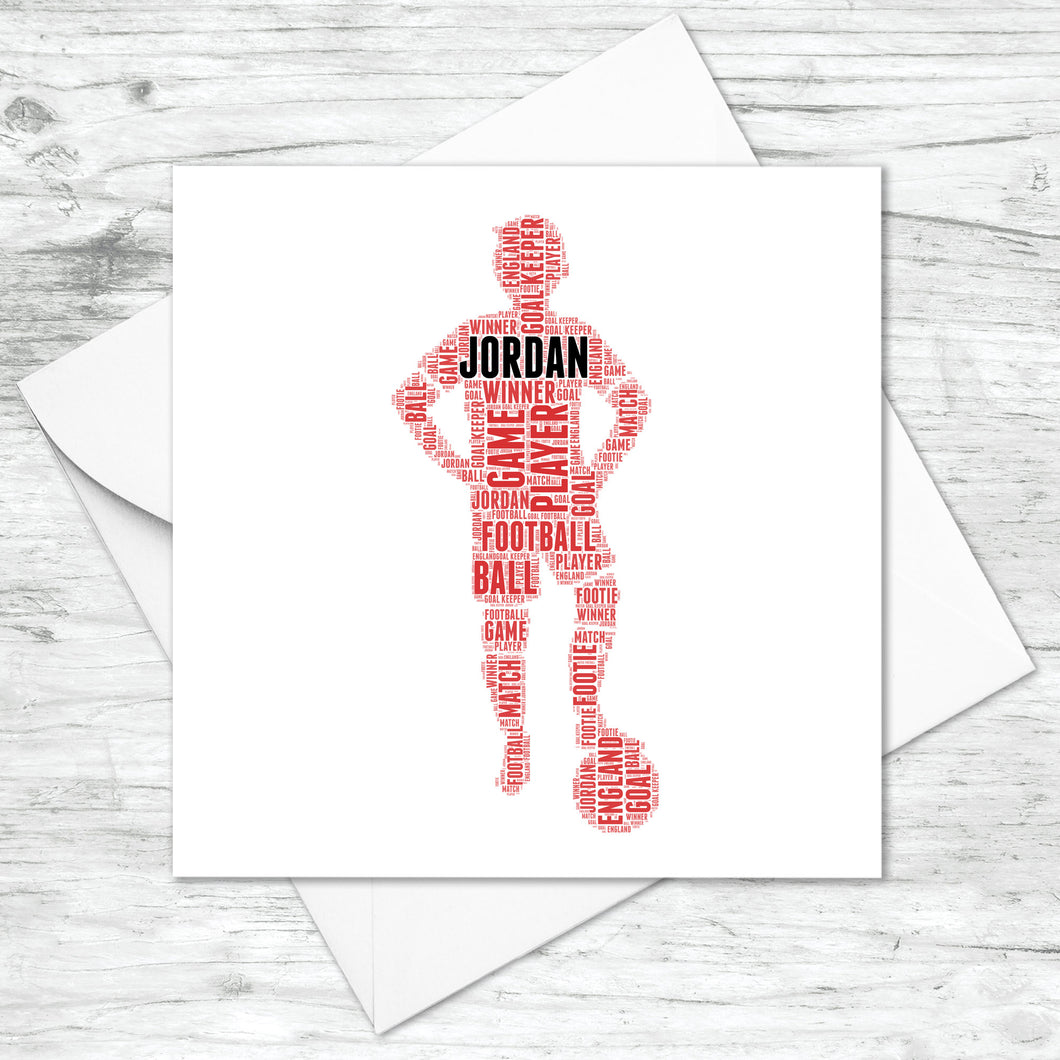 Personalised Football Player Word Art Card