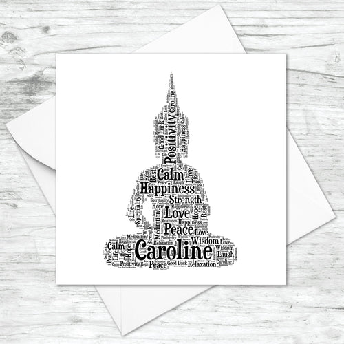 Personalised Sitting Buddha Word Art Card