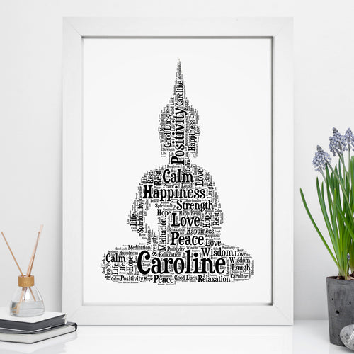 Personalised Sitting Buddha Word Art Print