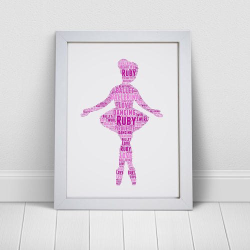 Personalised Ballerina Word Art Print