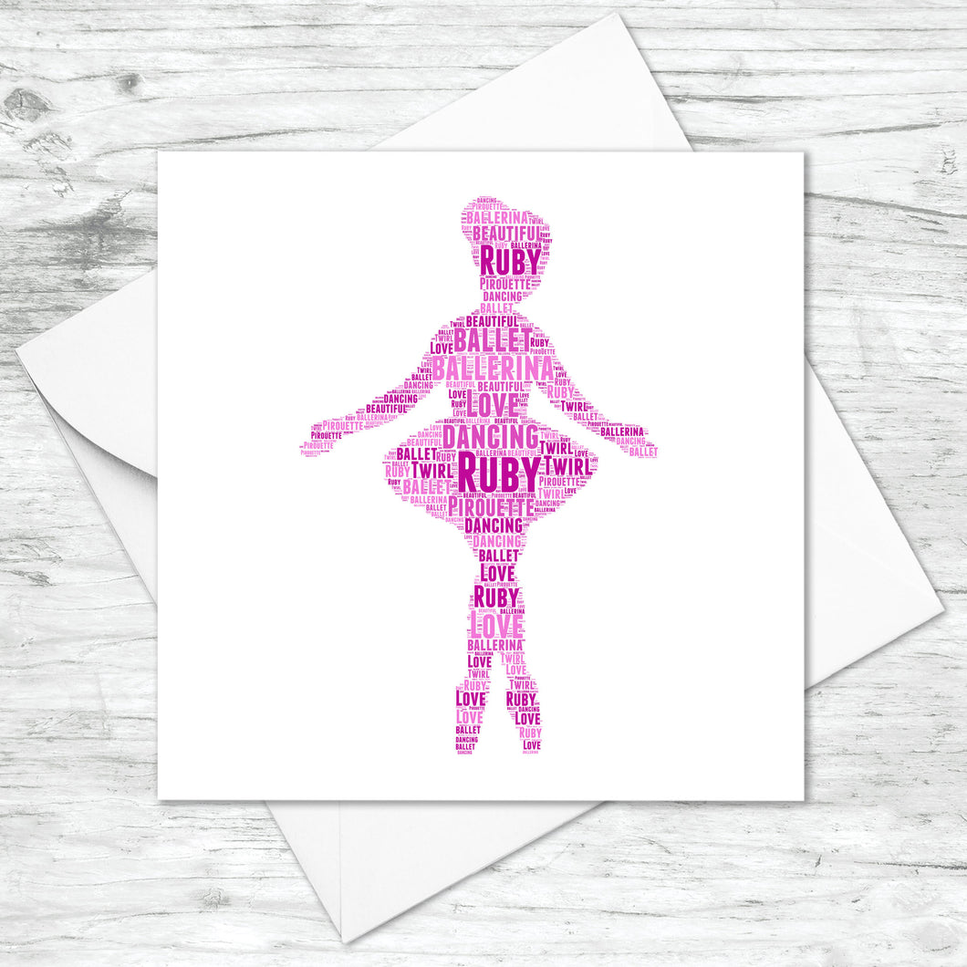 Personalised Ballerina Word Art Card