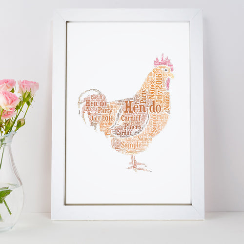 Personalised Chicken Hen Do Word Art Print