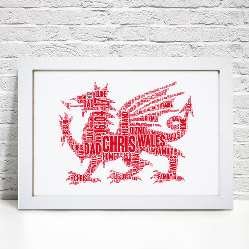 Personalised Welsh Dragon Word Art Print