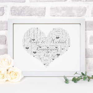 Personalised Engagement Heart Word Art Print
