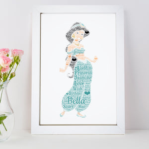 Personalised Princess Jasmine Word Art Print