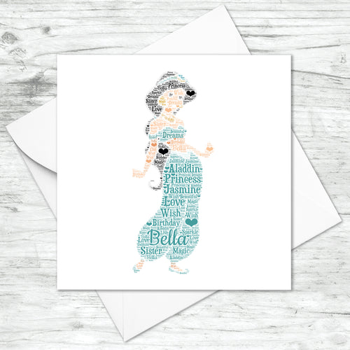 Personalised Princess Jasmine Word Art Card