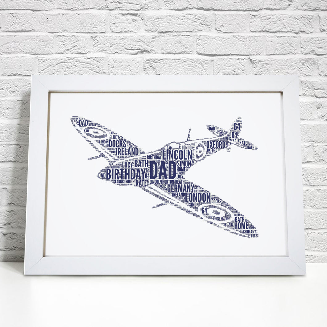 Personalised Spitfire Aircraft Plane Word Art Print