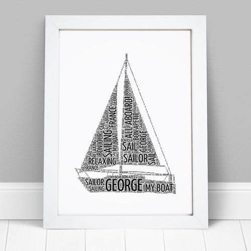 Personalised Sail Boat Word Art Print