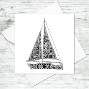 Personalised Sail Boat Word Art Card