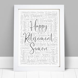 Personalised Retirement Word Art Print