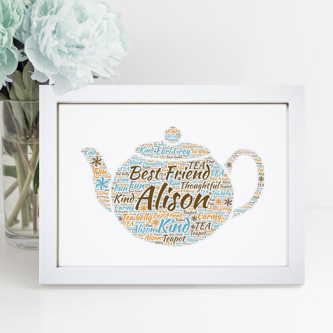 Personalised Teapot Word Art Print