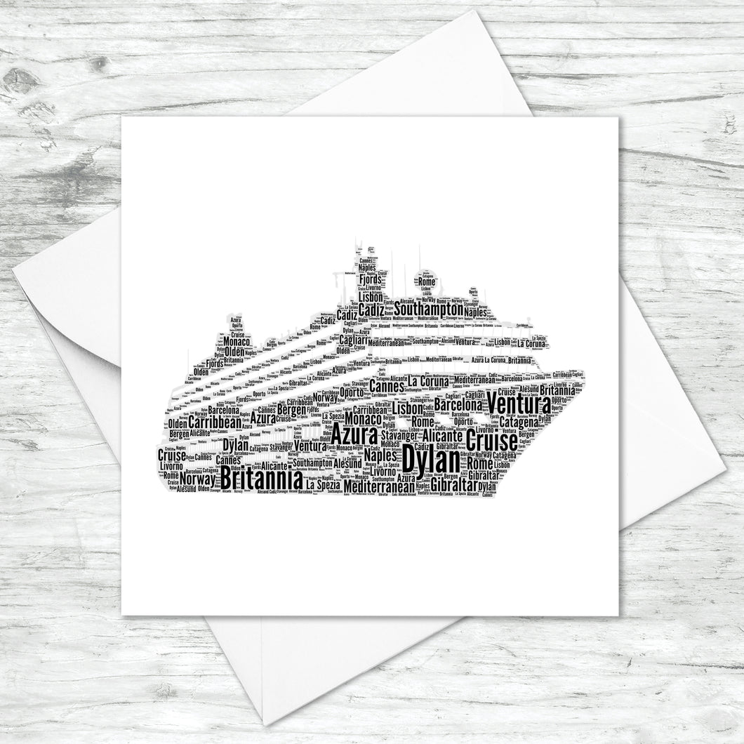 Personalised Cruise Ship Word Art Card