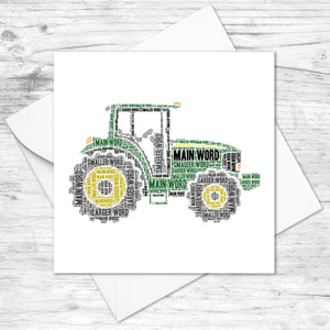 Personalised Farm Tractor Word Art Card