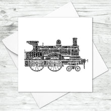 Personalised Steam Engine Train Word Art Card