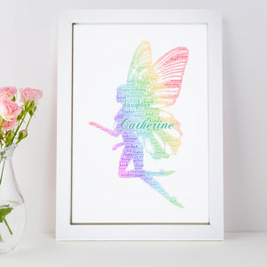 Personalised Rainbow Fairy Word Art Print