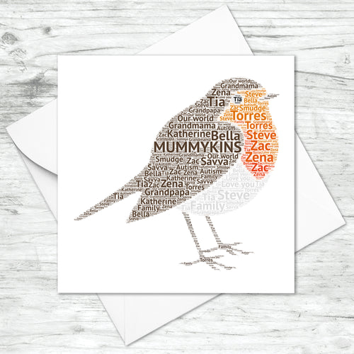Personalised Robin Word Art Card
