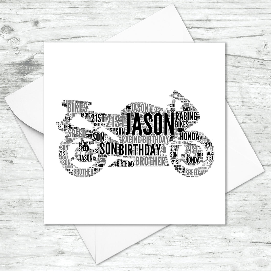 Personalised Motorbike Word Art Card