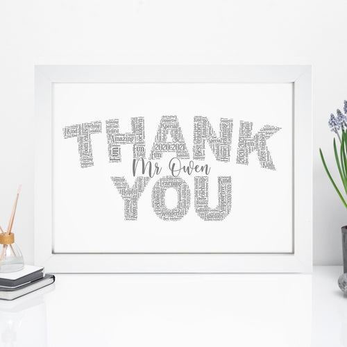 Personalised Thank You Word Art Print