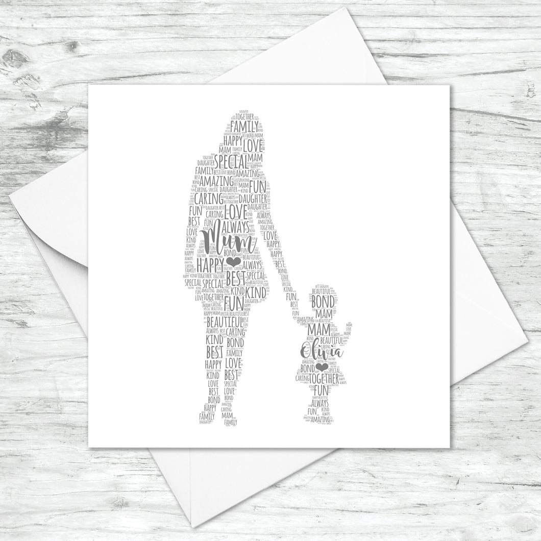 Personalised Mother Toddler Daughter Word Art Card
