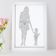 Personalised Mother Child Word Art Print