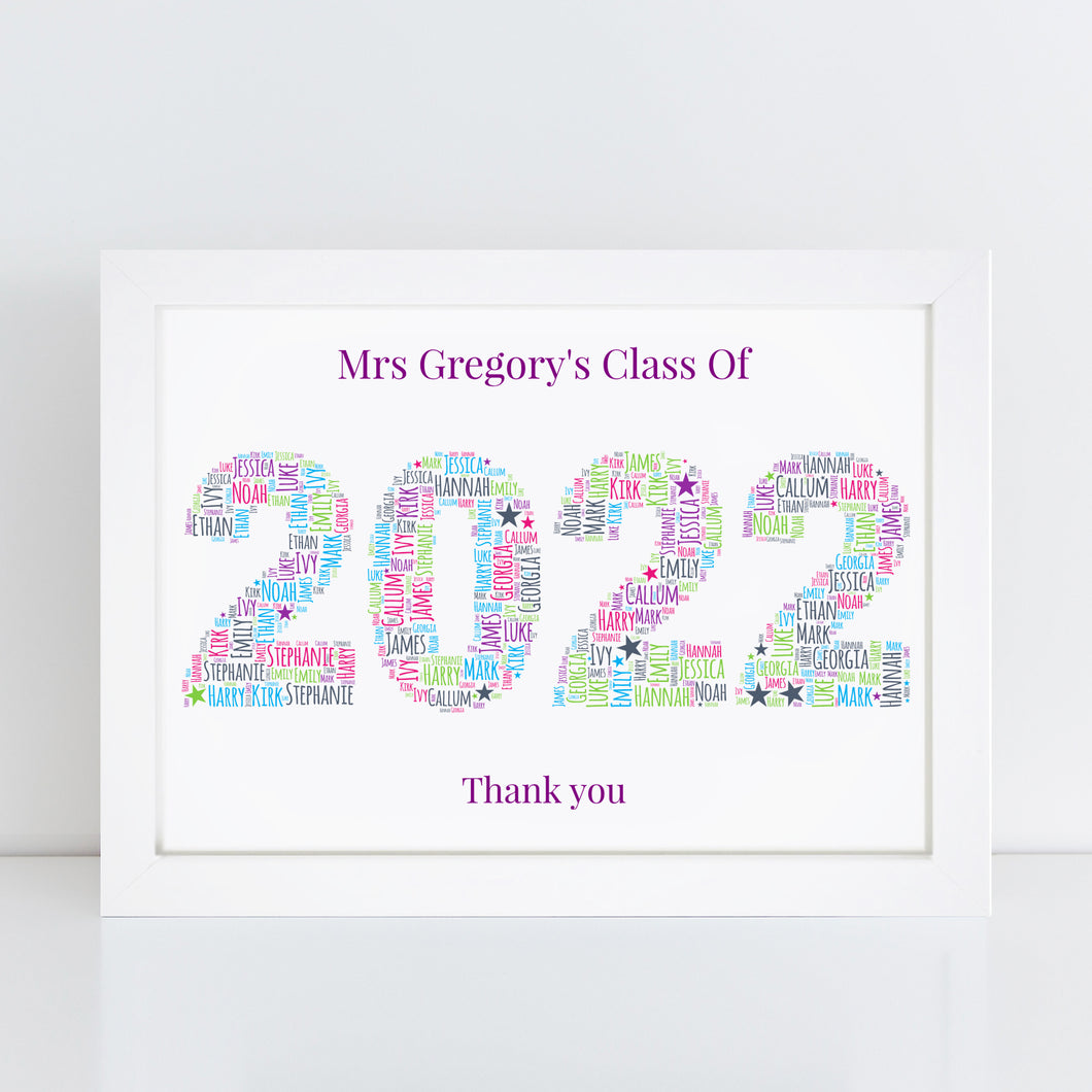 Personalised Best Teacher 2020 Word Art Print