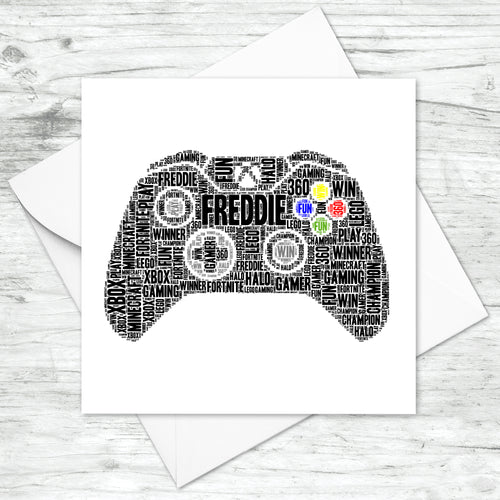 Personalised Xbox Controller Gaming Word Art Card