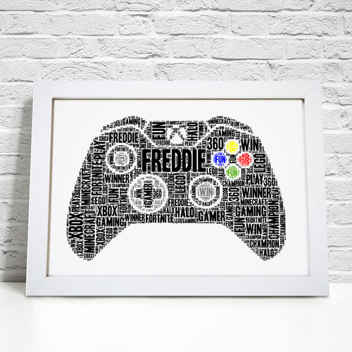 Personalised Xbox Controller Gaming Word Art Print