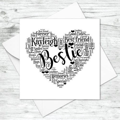 Personalised Bestie Friend Heart Word Art Print