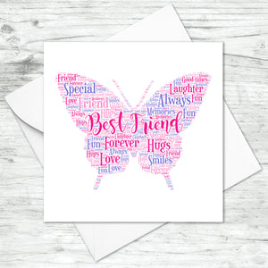 Personalised Butterfly Word Art Card