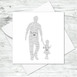 Personalised Father Toddler Daughter Word Art Card