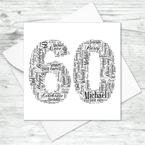 Personalised 60 Word Art Card