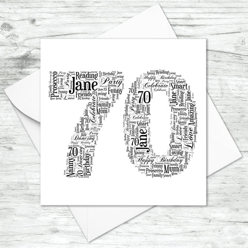 Personalised 70 Word Art Card