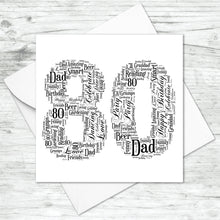 Personalised 80 Word Art Card