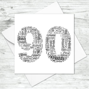 Personalised 90 Word Art Card