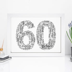Personalised 60 Word Art Print