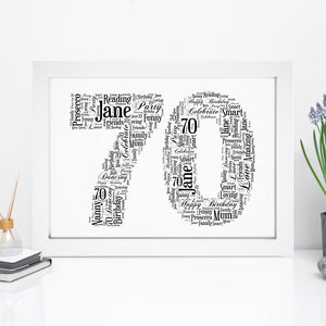 Personalised 70 Word Art Print